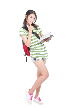 university Student girl. full length portrait of a beautiful young asian woman student. Isolated on white background photo