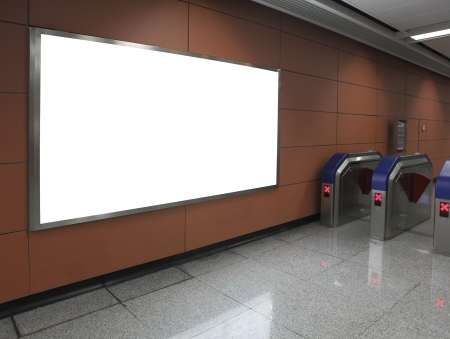 subway station: Blank billboard in subway station entrance (path in the image)