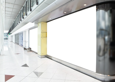 blank billboard: blank billboard in shopping mall, empty copy space in the image is great for designer Stock Photo
