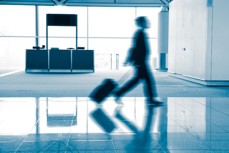 rush moving passenger in the airport, blue tune, shot in hong kong, asia