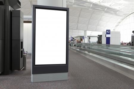 blank billboard: Blank Billboard im Flughafen, in Asien gedreht, Hong Kong Lizenzfreie Bilder