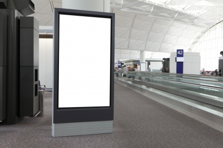 advertisements: Blank Billboard in airport, shot in asia, hong kong