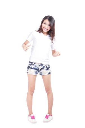asian youth: Young beauty girl show blank white T-shirt in full length, empty copy space in the image is ready for your design or logo, model is a asian woman