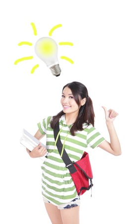 Smiling Young beautiful student woman having an idea with light bulb over her head, isolated on white background, model is a asian girl photo