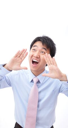 Closeup portrait of a young business man screaming out loud isolated on white background, model is a asian people Stock Photo - 14130517