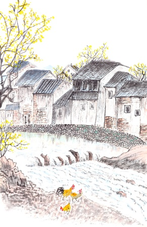 Traditional Chinese painting of river and country house landscape, white background. photo