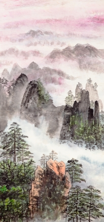 Traditional Chinese painting of high mountain landscape with cloud and mist Stock Photo - 14097565