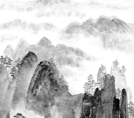 Traditional Chinese painting of high mountain landscape, monochrome tone