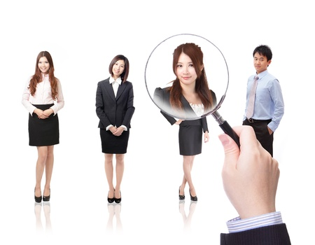 find glass: Human Resources concept: choosing the perfect candidate for the job, model are asian people