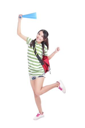 portrait of excited student girl  Full length  isolated on white background, model is a asian woman photo
