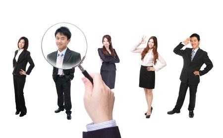 entrevista: Recursos Humanos de conceptos, la elección del candidato perfecto para el trabajo, el modelo son los asiáticos Foto de archivo