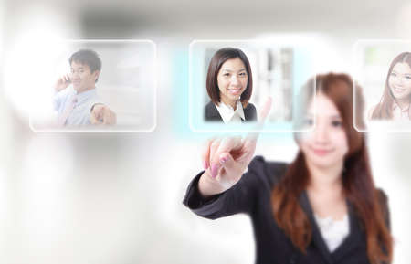 Human Resources concept, hand finger choosing perfect employees options by touch button photo
