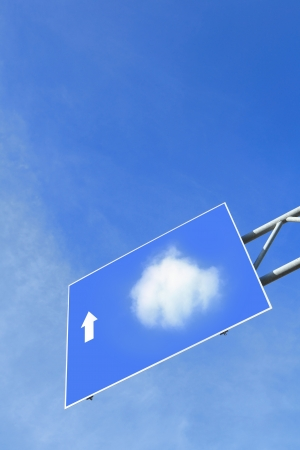 Cloud computing in road Traffic sign with blue sky and white cloud, concept for Cloud computing technology photo