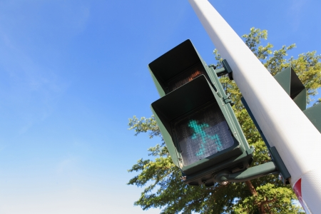 pedestrian signal (Traffic lights with the green light lit) with blue sky photo