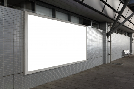 the place is outdoor: Blank billboard with empty copy space (path in the image) on the street Stock Photo
