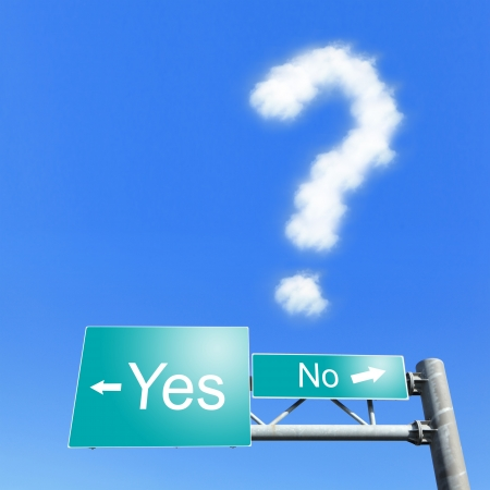 next horizon: yes or no - road signs with the sky with words, Indecision, a question mark cloud in the air Stock Photo