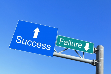 notice board: Success or Failure - road signs with blue sky with words concept for business Stock Photo
