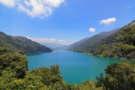 reservoir: Beautiful reservoir with mountain and blue sky and trees, shot in taiwan, asia