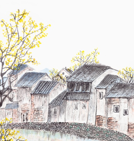 Traditional Chinese painting of old country house landscape photo