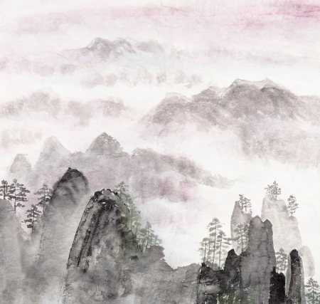Traditional Chinese painting of high mountain landscape with cloud and mist