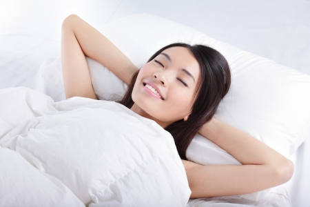Have a good dream, Sleeping Girl on bed in the morning, model is a asian beauty photo