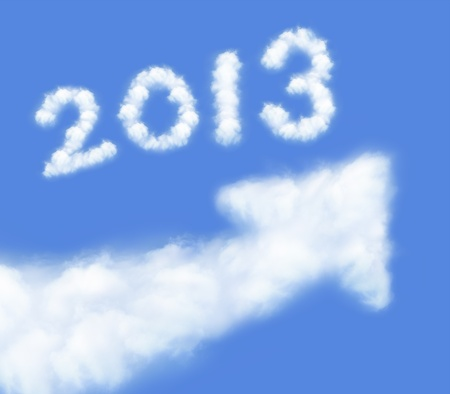 happy new year 2013, Go Go Go! white cloud and blue sky on sunny day. Stock Photo - 14813801
