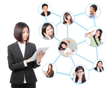 Young asian business woman in social network. woman looks to the tablet computer isolated on white background. Social group photo