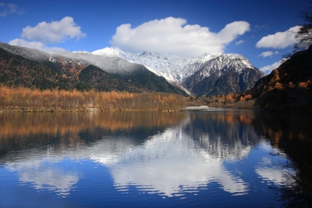 Amazing beautiful mountain and lake on autumn, shot in japan, asia photo