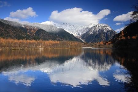 Amazing beautiful mountain and lake on autumn, shot in japan, asia photo