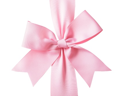 Gift pink ribbon and bow isolated on white background Stock Photo