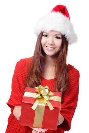 Santa Woman with Christmas Gift Box isolated on white background, model is a asian girl Stock Photo - 15233062