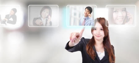 Human Resources concept, hand finger choosing perfect male employees options by touch button photo