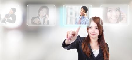 ressources humaines: Ressources humaines concept, doigts � la main en choisissant parfaits hommes salari�s des options de bouton tactile