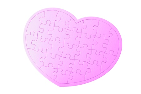 Heart Shaped pink Jigsaw Puzzle isolated on white background photo