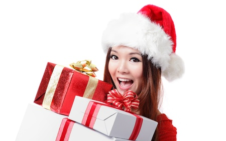 크리스마스 선물 상자와 함께 행복 산타 여자 흰색 배경에 고립 된 모델은 아시아 여자입니다 스톡 콘텐츠