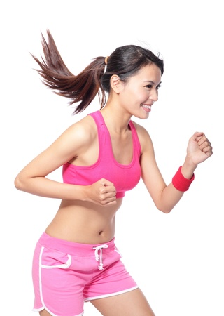 skinny girl: Runner woman in profile. Running fit fitness sport model jogging smiling happy isolated on white background. model is a asian girl