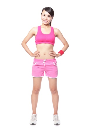 Fitness woman smile put hands on waist and standing in full body isolated on white background. Healthy lifestyle concept of happy young asian model