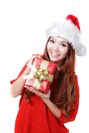 Santa Woman happy holding Christmas Gift Box isolated on white background, model is a asian girl Stock Photo - 15557052