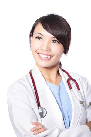 Portrait of a smiling woman doctor look to empty copy space isolated on white background, model is a asian beauty photo