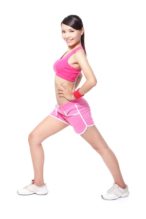 warming: beautiful asian sport woman warming up for sport. healthy fitness lifestyle, full length isolated on white background Stock Photo