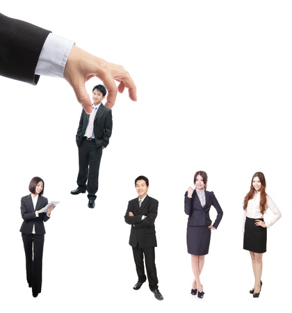 Human Resources concept: choosing the perfect candidate (business man) for the job Stock Photo