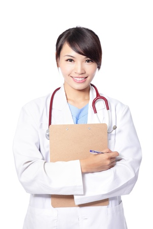 docs: Beautiful female doctor smiling with arms crossed isolated on white background, model is a asian woman Stock Photo