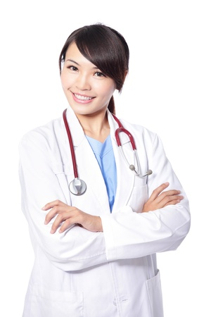 Portrait of a smiling woman doctor cross her arms isolated on white background, model is a asian beauty