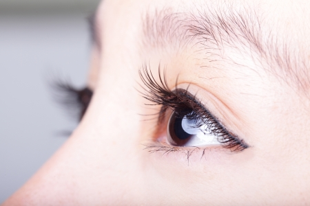 close up eyes: Beautiful woman eye with long eyelashes. asian model Stock Photo