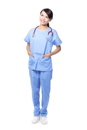 attractive surgeon woman doctor or nurse smile look copy space in full length isolated on white background, model is a asian beauty Stock Photo - 16566897