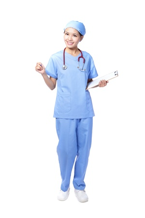 attractive surgeon woman doctor or nurse smile holding clipboard in full length isolated on white background, model is a asian beauty Stock Photo - 16566893