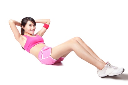 asian abs: Exercise woman doing situps workout training in full length isolated on white background. Asian sport fitness woman smiling cheerful and happy looking at camera
