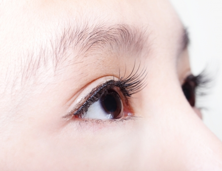 eyebrows: Beautiful girl right eye with long eyelashes. asian woman model Stock Photo