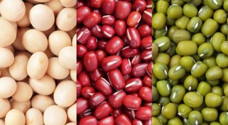 leche de soya: Judías verdes, frijoles de soya, frijoles rojos close up textura