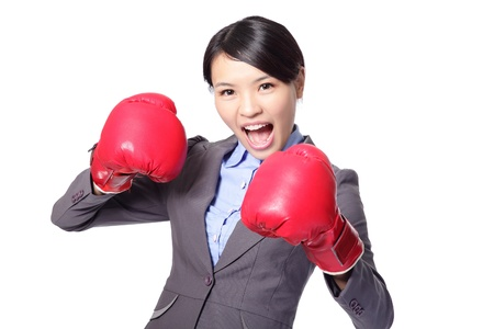 Business woman boxing ready to fight Stock Photo - 16758832